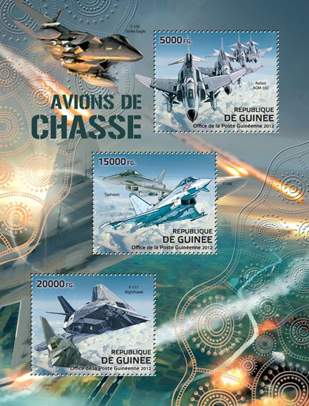 Fighter aircrafts, (Rafael AGM-142, Typhoon, F-117 Nighthawk). - Issue of Guinée postage stamps