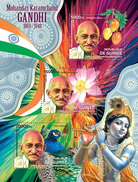 Mohandas Karamchand Gandhi, (1869-1948), (Mangifera indica, Nelumbo nucifera, Pavo cristatus). - Issue of Guinée postage stamps