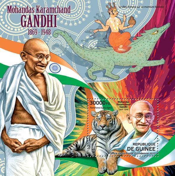 Mohandas Karamchand Gandhi, (1869-1948), (Panthera tigris tigris). - Issue of Guinée postage stamps
