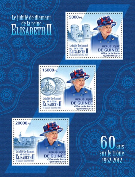 The Diamond Jubilee of Queen Elizabeth II, (60 years on the throne, 1952-2012). - Issue of Guinée postage stamps