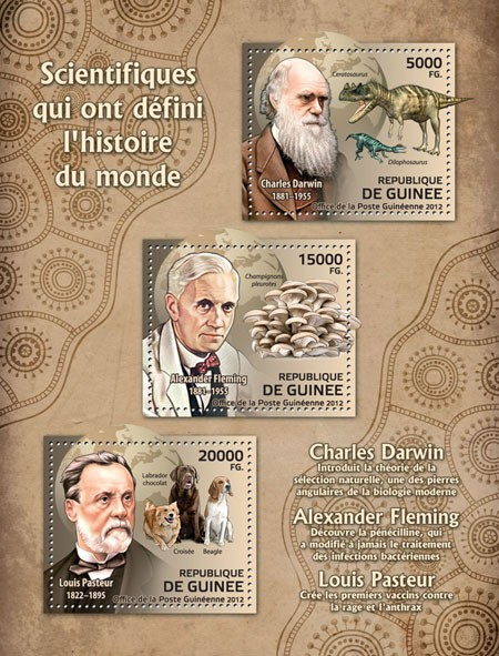 Scientists (Charles Darwin, Alexander Fleming, Louis Pasteur) - Issue of Guinée postage stamps