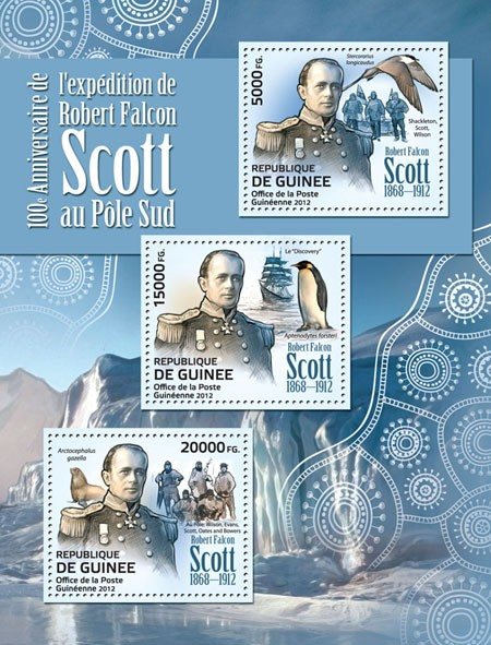 Robert Falcon Scott (1868-1912) (Ship :discovery, stercorarius longicaudus, aptenodytes forsteri, arctocephalus gazelle) - Issue of Guinée postage stamps