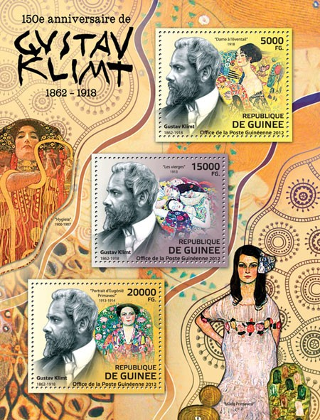 Gustav Klimt (1862-1918) - Issue of Guinée postage stamps