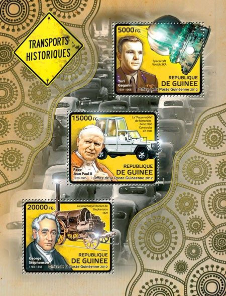 Transport history (Yuri Gagarin, Pope John Paul II, George Stephenson) - Issue of Guinée postage stamps