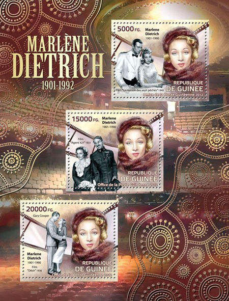 Marlene Dietrich (1901-1992) - Issue of Guinée postage stamps