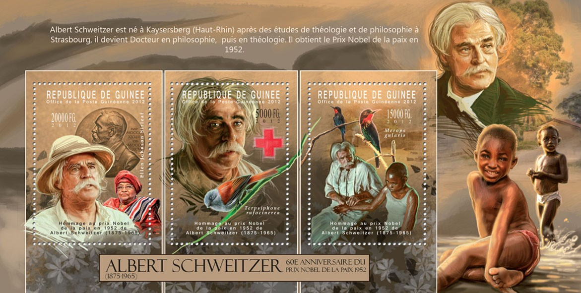 Albert Schweitzer / Red Cross, (1875-196), (Ellen Johnson Sirleaf, Terpsiphone rufocinerea, Merops gularis). - Issue of Guinée postage stamps