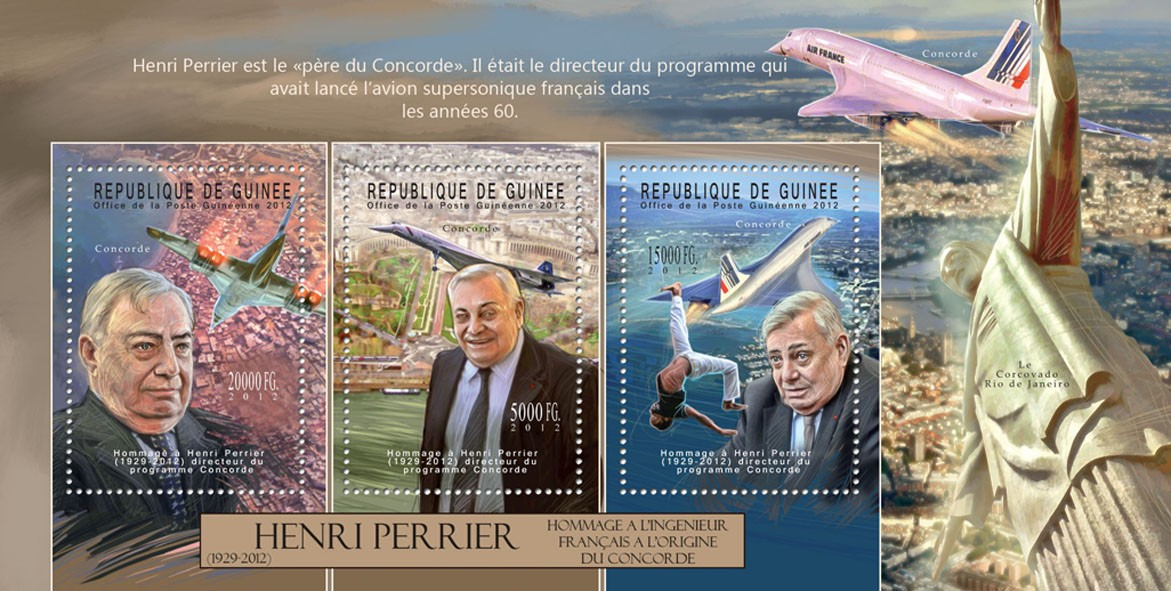 Henri Perrier, (1929-2012), (Concorde). - Issue of Guinée postage stamps