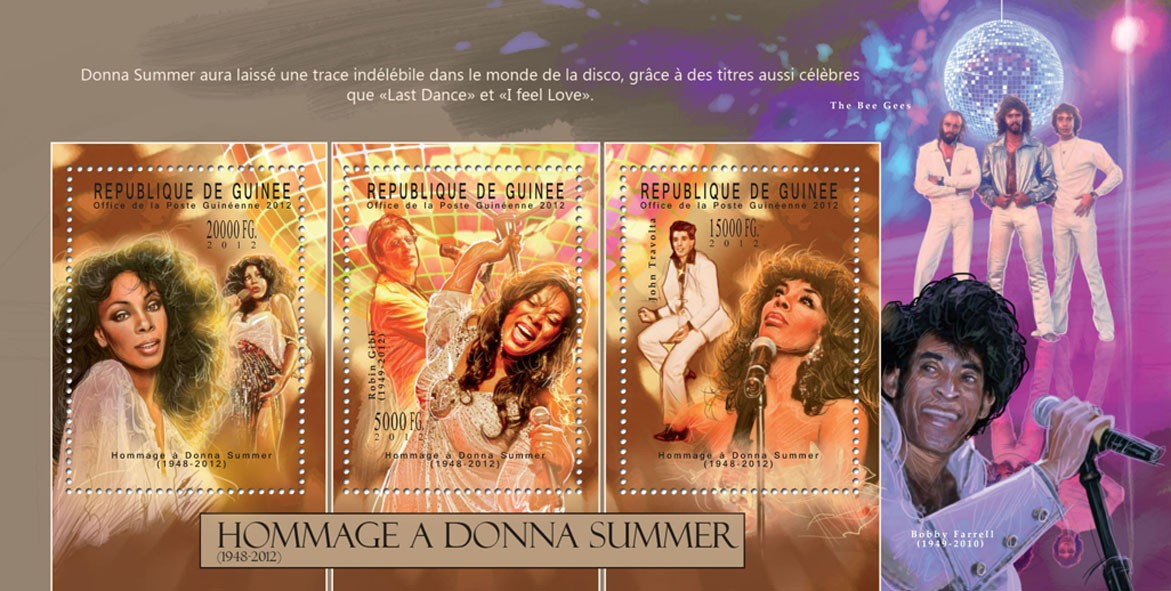 Donna Summer, (1948-2012), (Robin Gibb 1949-2012, John Travolta). - Issue of Guinée postage stamps