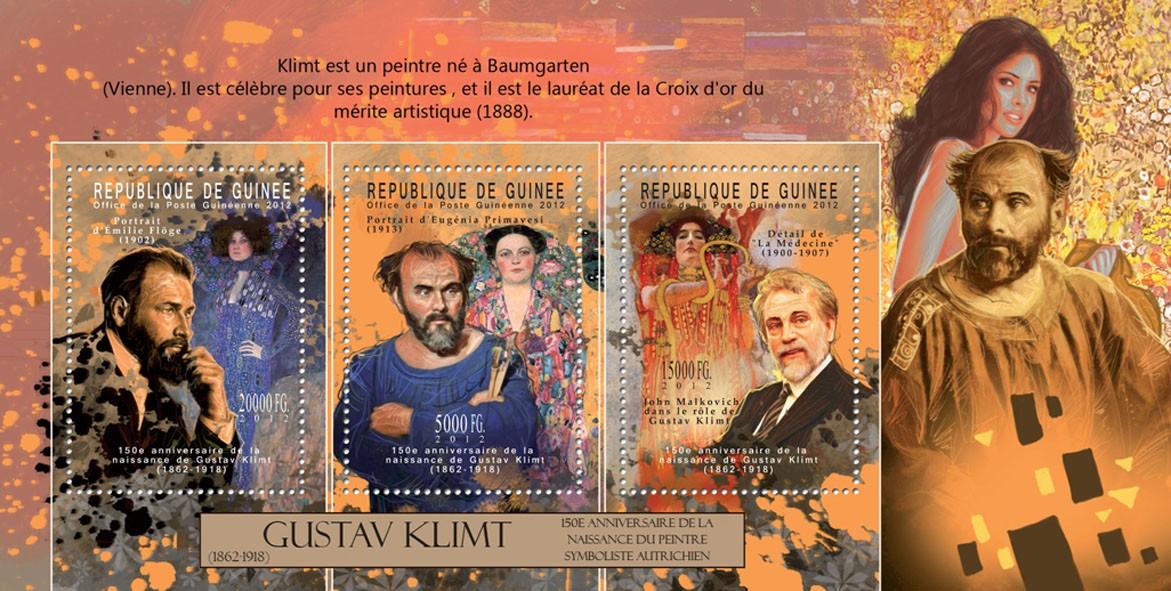 Gustav Klimt, (1862-1918), (John Malkovich). - Issue of Guinée postage stamps