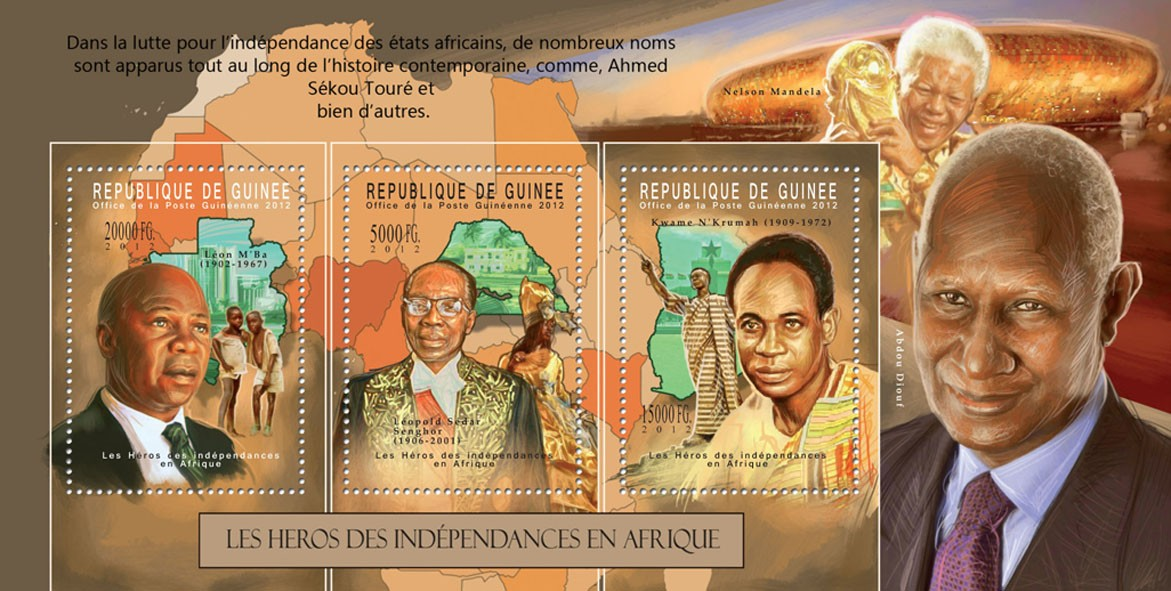 Heroes of African Independences, (Leon M?タルBa 1902-1967, Leopold Sedar Senghor 1906-2001, Kwame N?タルKrumah 1909-1972). - Issue of Guinée postage stamps