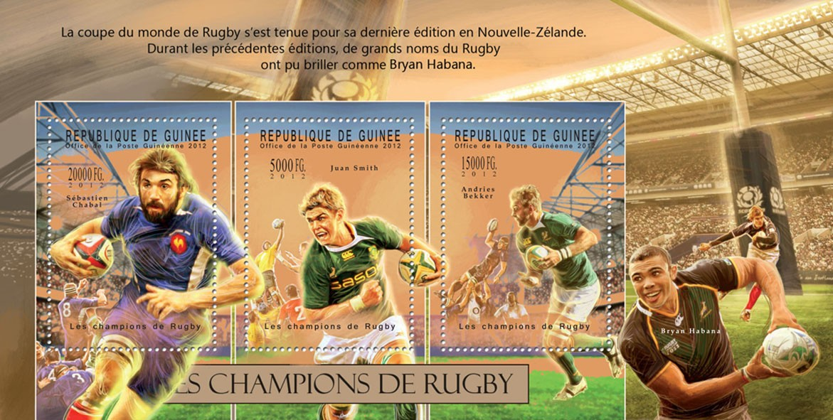 Rugby, (Sebastien Chabal, Juan Smith, Andries Bekker). - Issue of Guinée postage stamps