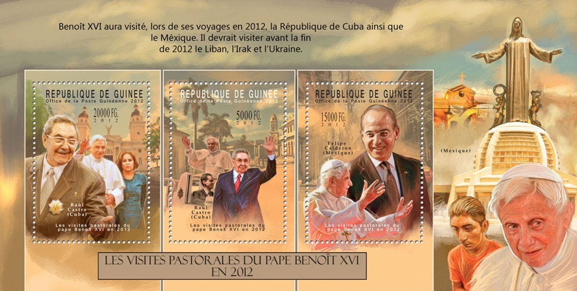 Pope Benedict XVI, (Raul Castro, Felipe Calderon). - Issue of Guinée postage stamps