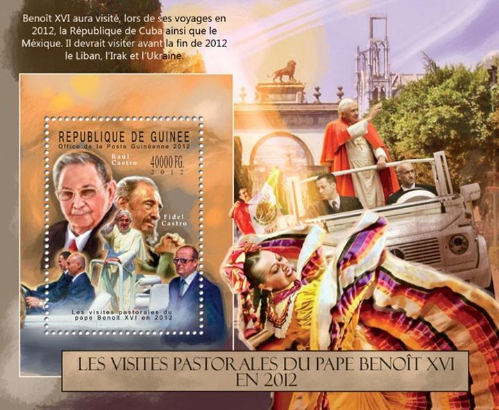 Pope Benedict XVI, (Raul Castro, Fidel Castro). - Issue of Guinée postage stamps