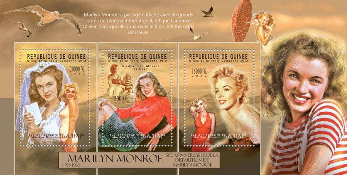 Marilyn Monroe, (1926-1962). - Issue of Guinée postage stamps