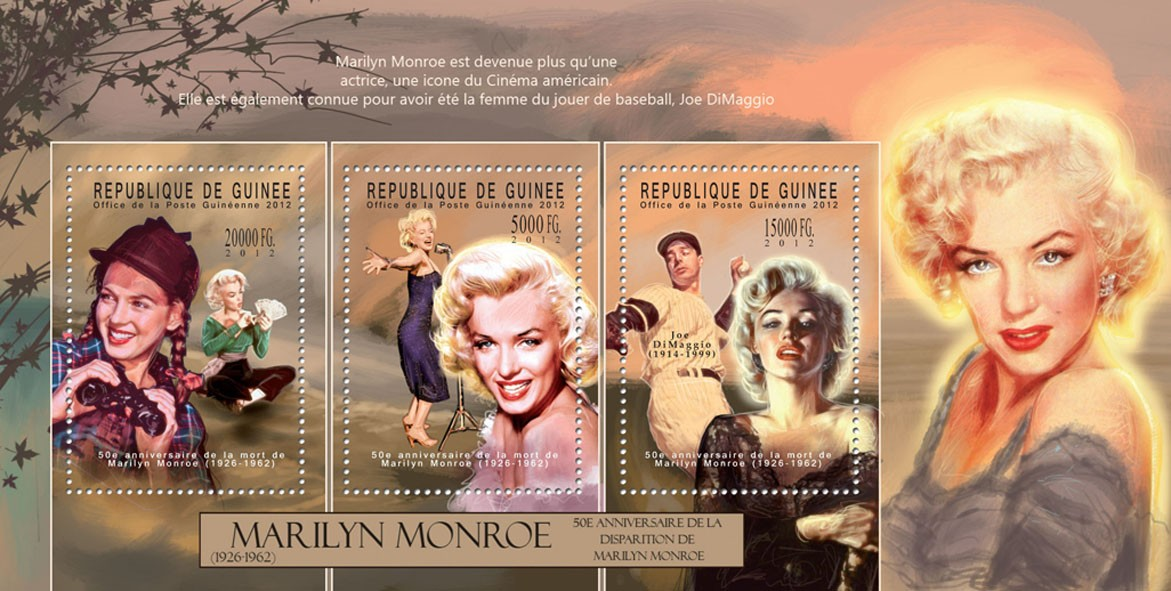 Marilyn Monroe - (III), (1926-1962), (Joe DiMaggio) - Issue of Guinée postage stamps