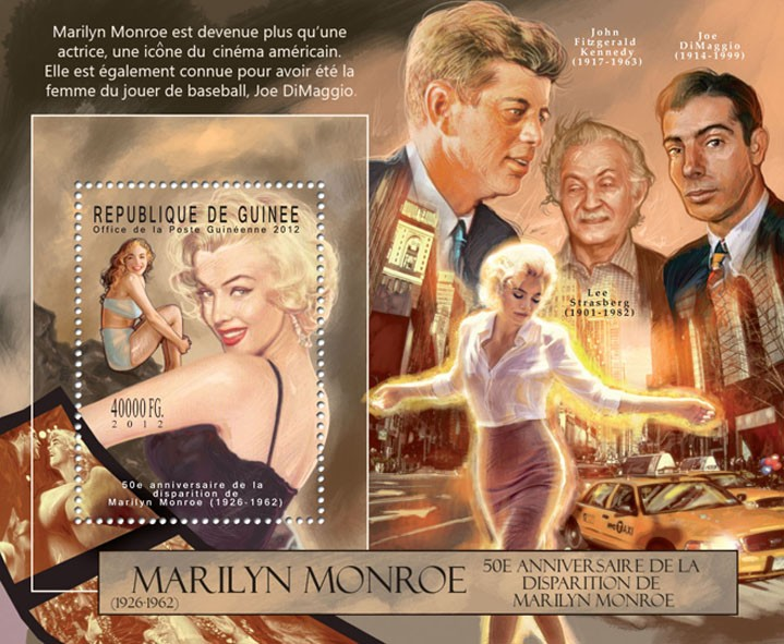 Marilyn Monroe - (III), (1926-1962), (J.F. Kennedy, Joe DiMaggio) - Issue of Guinée postage stamps