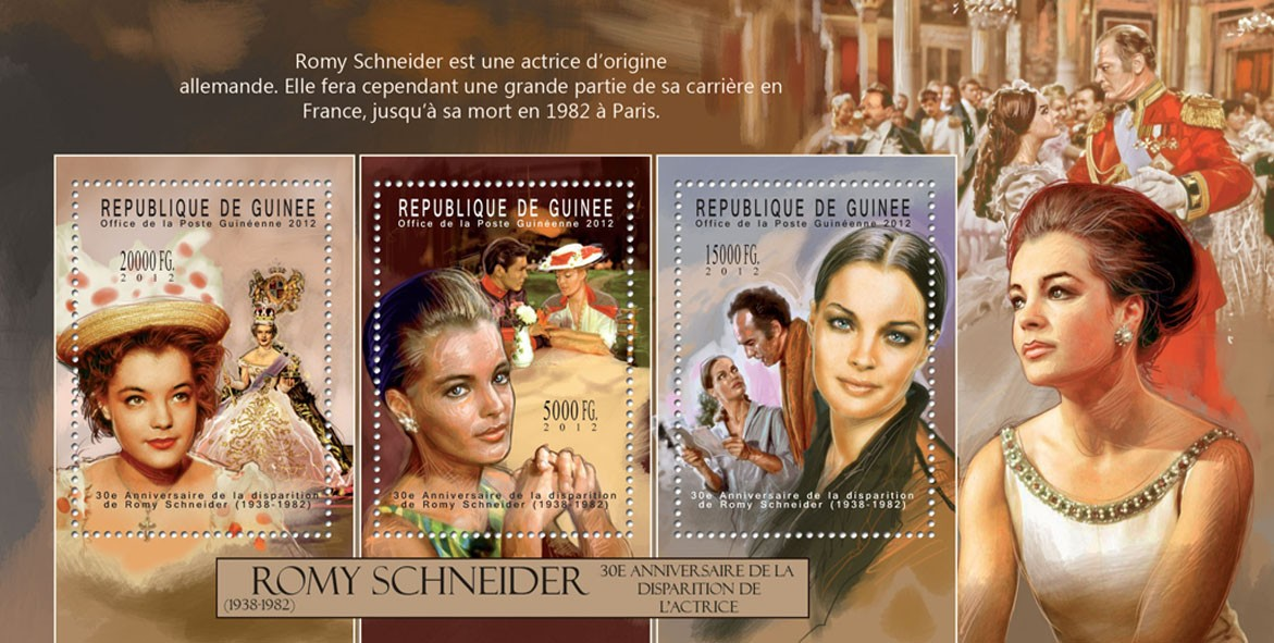 Romy Schneider, (1938-1982). - Issue of Guinée postage stamps