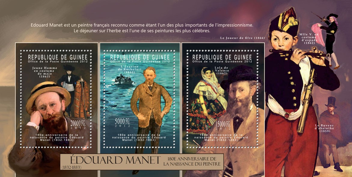 Eduard Manet, (1832-1883). - Issue of Guinée postage stamps