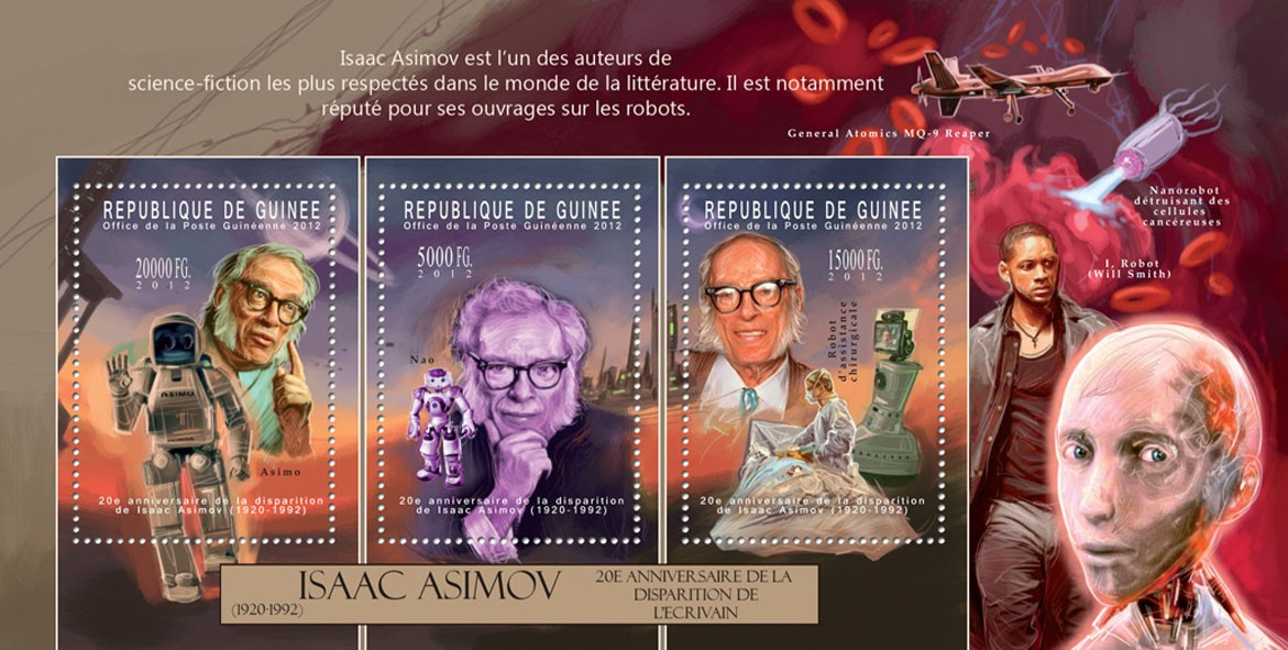 Isaac Asimov, (1920-1992). - Issue of Guinée postage stamps