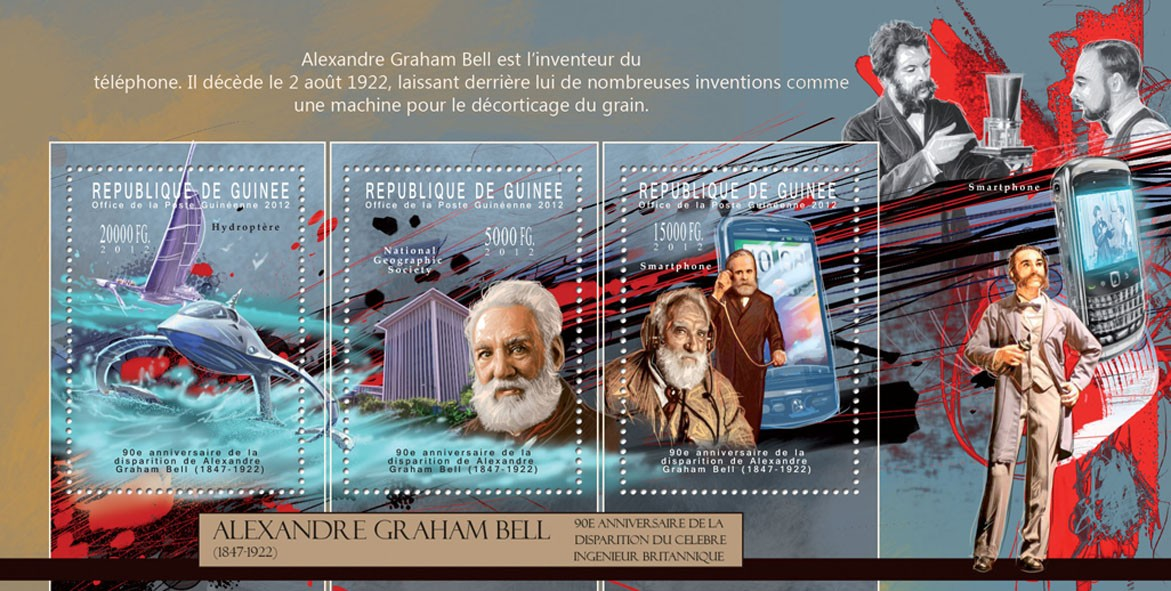 Alexander Graham Bell, (1847-1922). - Issue of Guinée postage stamps