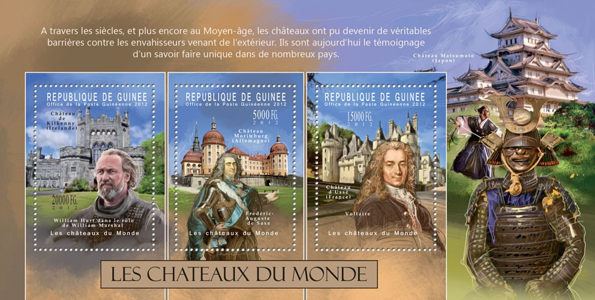 The Castles of the World - Issue of Guinée postage stamps