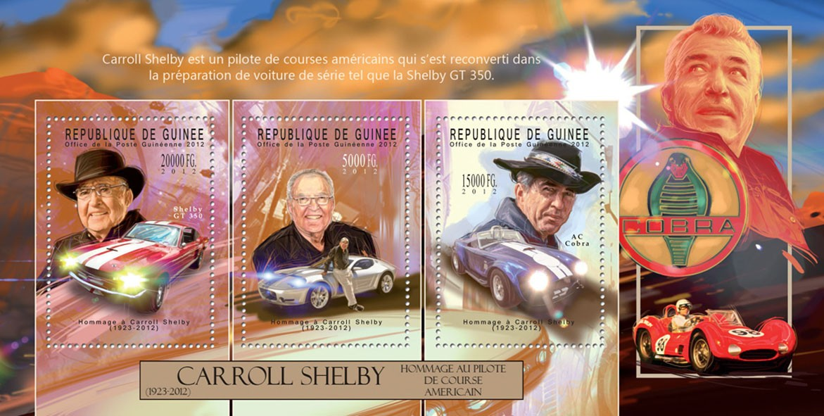 Carroll Shelby, (1923-2012). - Issue of Guinée postage stamps