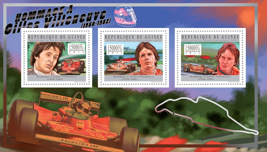 Gilles Villeneuve, (1950-1982) - Issue of Guinée postage stamps