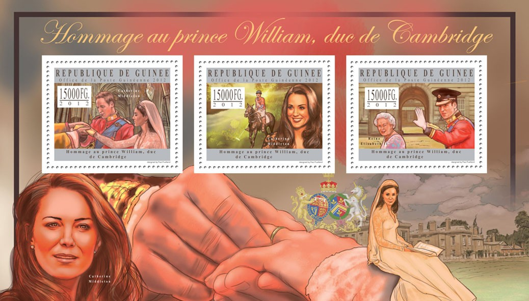 Prince Williams, (Catherine Middleton, Reine Elisabeth II) - Issue of Guinée postage stamps