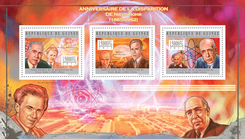 Niels Bohr, (Werner Heisenberg, Albert Einstein) - Issue of Guinée postage stamps
