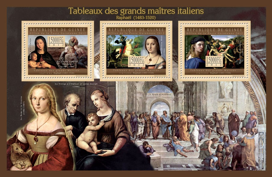 Great Italian Masters Paintings II - Issue of Guinée postage stamps