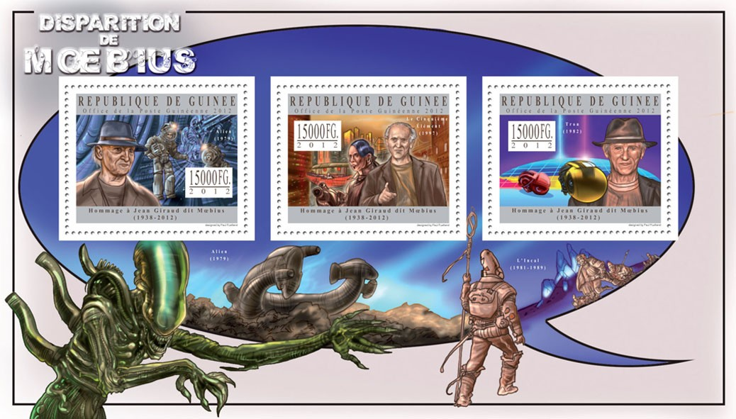 Disappearance of Moebius - Jean Giraud - Issue of Guinée postage stamps
