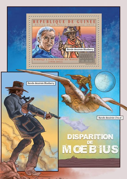 Disappearance of Moebius- Jean Giraud - Issue of Guinée postage stamps