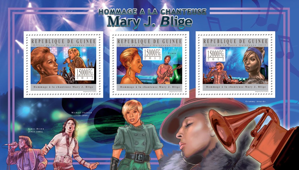 Mary J. Blige - Issue of Guinée postage stamps