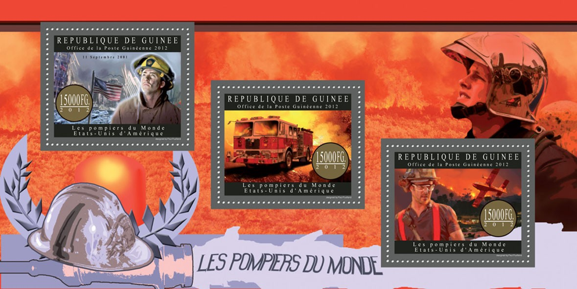 Fire brigade of USA - Issue of Guinée postage stamps