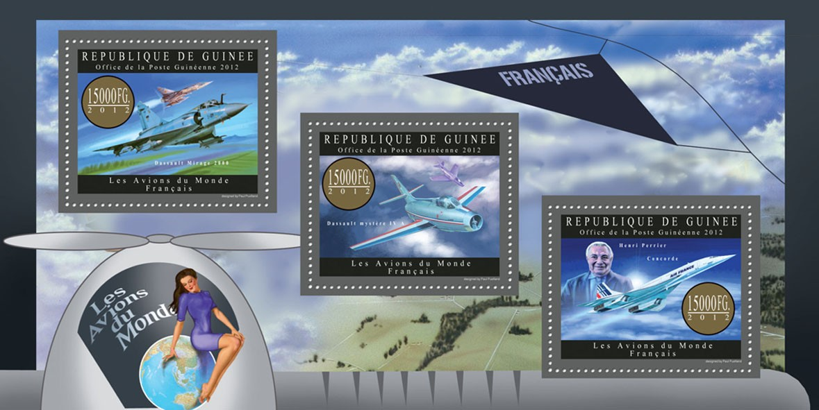Planes of France - Issue of Guinée postage stamps