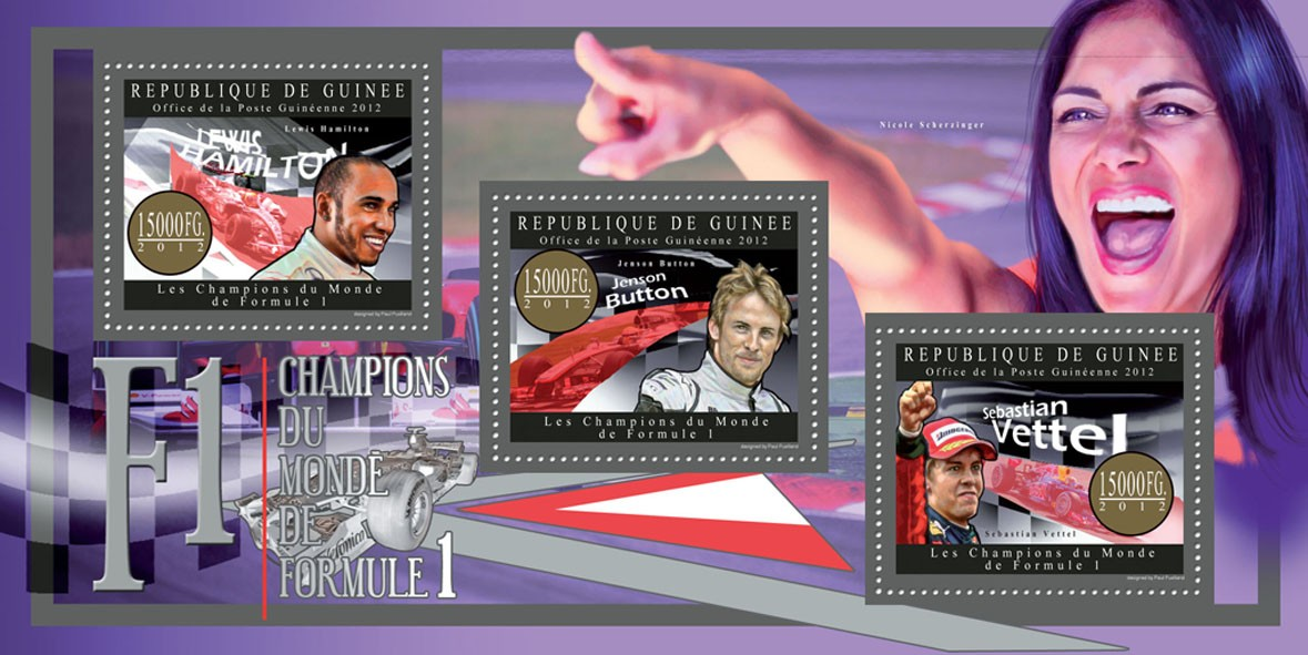 Champions of F1 - Issue of Guinée postage stamps