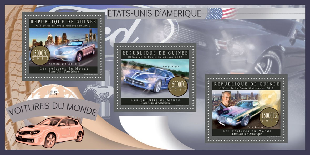 Cars of USA - Issue of Guinée postage stamps