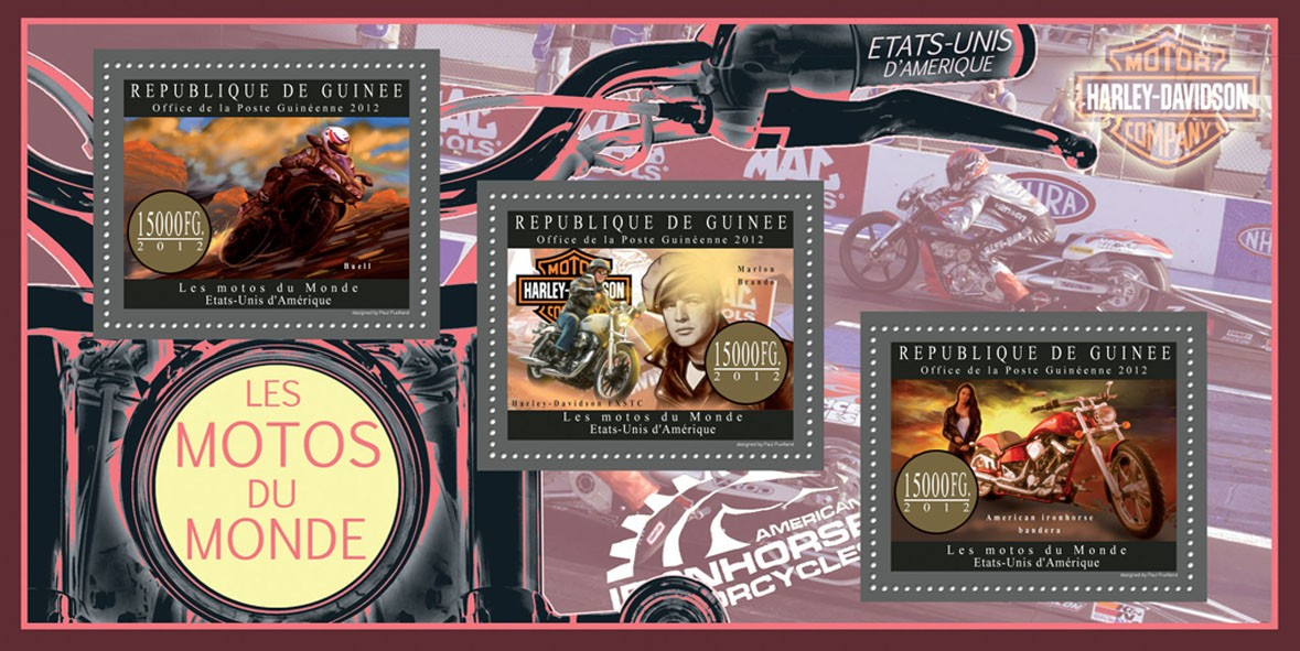 Motorcycles of USA - Issue of Guinée postage stamps