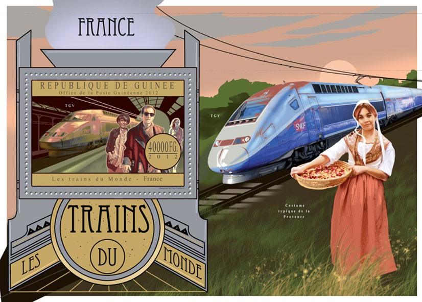 Trains of  France - Issue of Guinée postage stamps