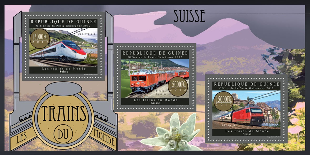 Trains of Switzerland - Issue of Guinée postage stamps