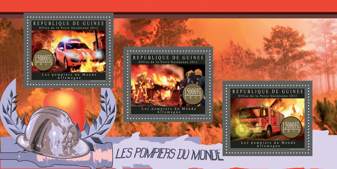 Fire brigade of Germany - Issue of Guinée postage stamps