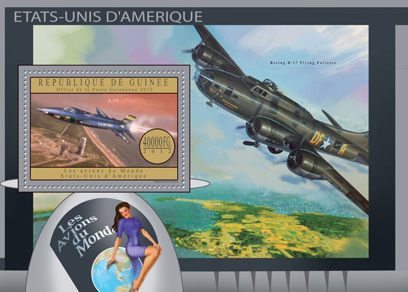 Plane of USA - Issue of Guinée postage stamps