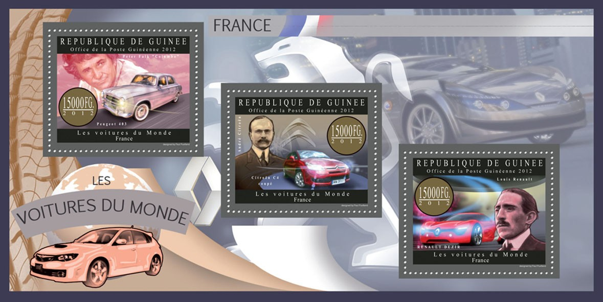 Cars of France - Issue of Guinée postage stamps