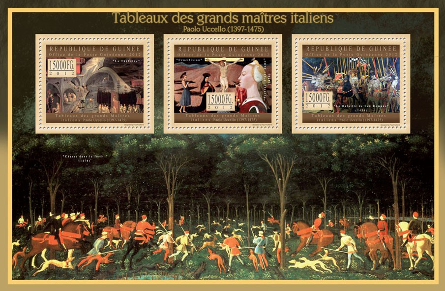 Great Italian Masters Paintings VI, (Paolo Uccello) - Issue of Guinée postage stamps