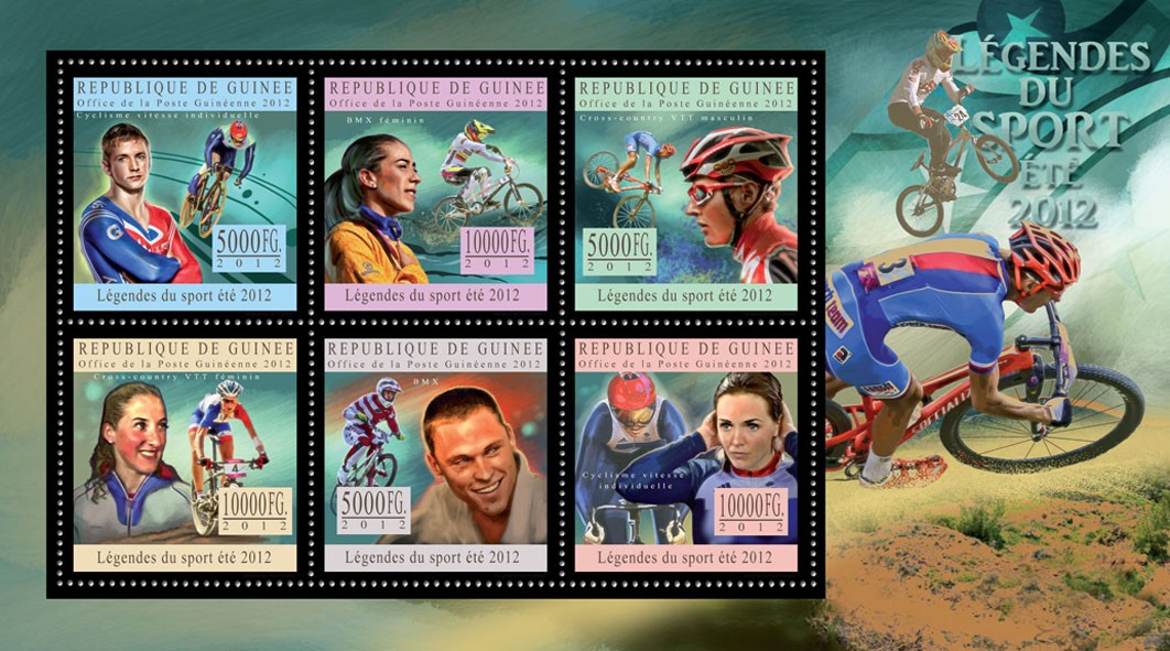 Sports legends summer 2012 III - Issue of Guinée postage stamps