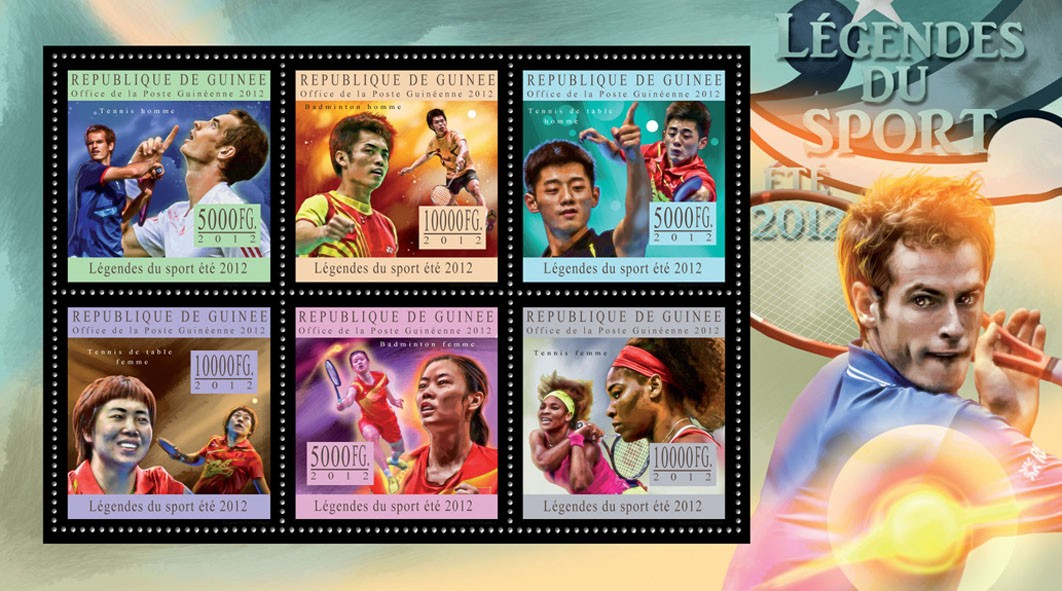 Sports legends summer 2012 IV - Issue of Guinée postage stamps