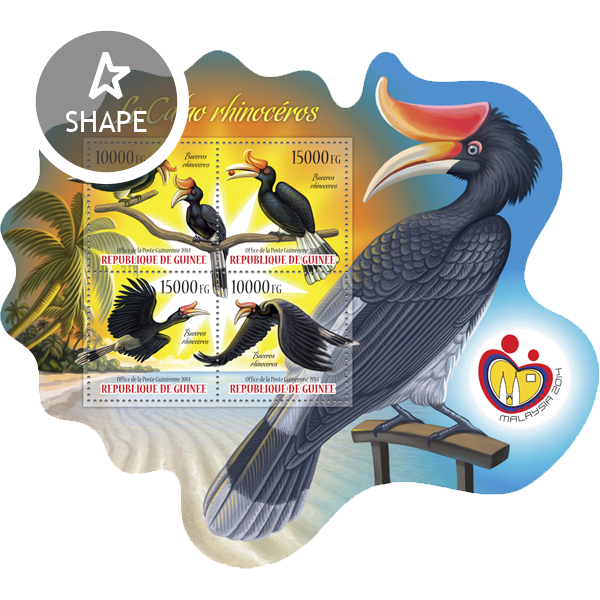 Rhinoceros hornbill  - Issue of Guinée postage stamps