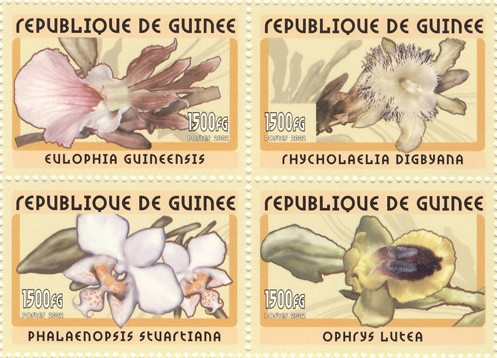 Orchids  4v - Issue of Guinée postage stamps