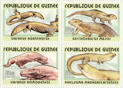Lizards 4v - Issue of Guinée postage stamps
