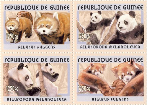 Panda 4v - Issue of Guinée postage stamps
